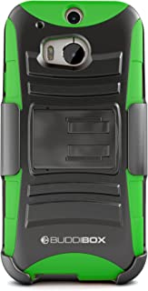 HTC One M8 Case, BUDDIBOX [HSeries] Heavy Duty Swivel Belt Clip Holster with Kickstand Maximal Protection Case for HTC One M8, (Green)