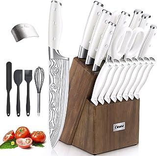 Knife Set, 23 PCS Kitchen Knife Set with Block, Germany High Carbon Stainless Steel Chef Knife Block Set, Knives Set for K...