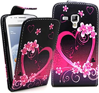 Accessory Master Polyurethane (PU) Leather Case with Purple Heart and Flowers Design for Samsung Galaxy S Duos S7562 and S...
