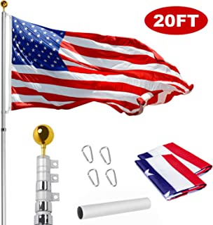 WeValor 20FT Telescoping Flag Pole Kit, Heavy Duty 16 Gauge Aluminum Outdoor In Ground Flag Poles with 3x5 USA Flag, for Residential or Commercial, Silver