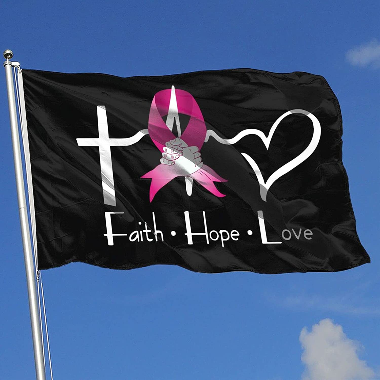 3x5 Ft Faith Hope Love Breast Cancer Awareness Flags Garden Flags Home Indoor & Outdoor Welcome Decorations,Yard Decorative Family Party Banner