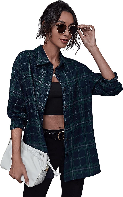 SheIn Women's Plaid Long Sleeve Lapel Collar Blouse Button Down Long Tunic Top