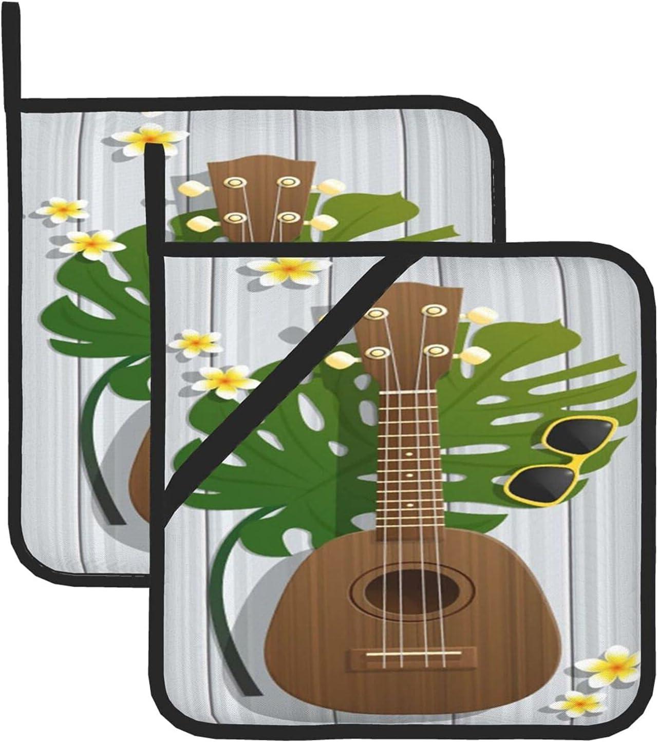 AOOEDM Hello Summer Guitarra Hojas de Palma Sostenedores de ollas Mitones de Horno Agarradores de ollas Resistentes al Calor para cocinar Parrillas de microondas Juego de 2 Almohadillas de aislamien