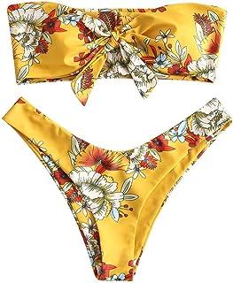 comprar comparacion UMIPUBO Traje de Baño Mujer Bikini Bandeau Bañadores Palabra de Honor con Estampado Tropical Conjunto de Tankini 2 PCS Rop...