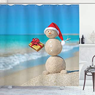 Ambesonne Christmas Shower Curtain, Sand Snowman with Santa Hat and Present Tropical Beach Australian Noel, Cloth Fabric Bathroom Decor Set with Hooks, 70