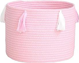 Lace Decoration Cotton Rope Basket Boho Cute Woven Tassel Closet Closet Storage Box Storage Box-Pink