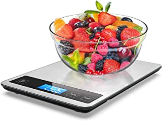 Food Scale, Homever 15kg Digital Food Scale with 9x6.3 in Big Panel, Digital Kitchen Scale with 1g Accuracy and Back-lit LCD Display. (silver)