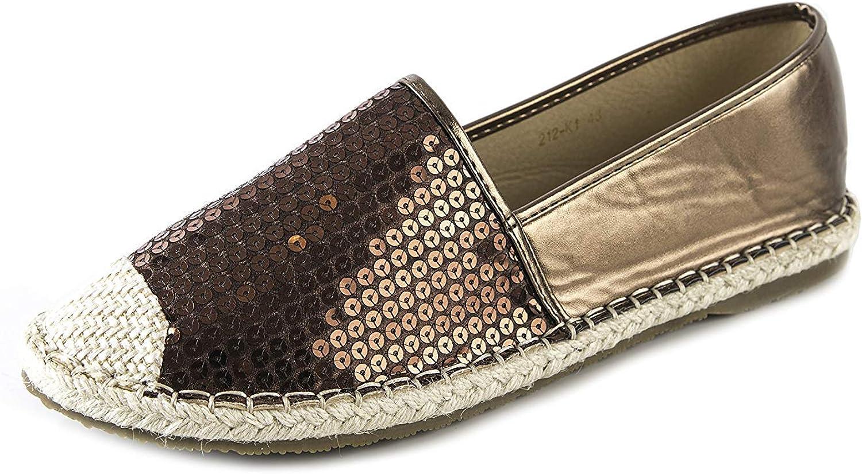 Unm Women's Sparkly Sequins Cap Toe Low Cut Driving Slip-on Espadrilles Flats shoes