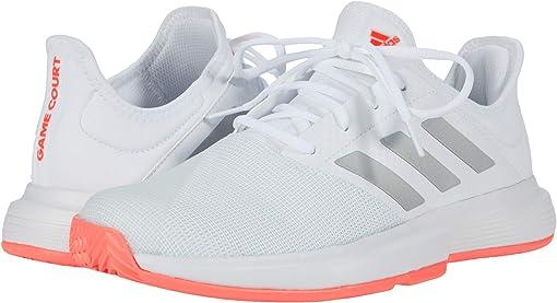 Footwear White/Silver Metallic/Signal Pink