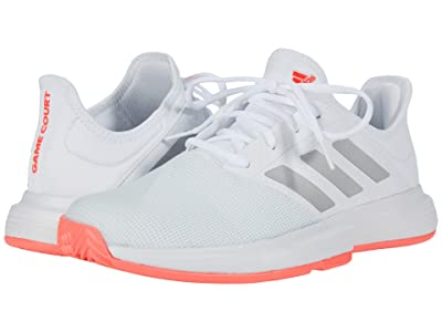 adidas GameCourt (Footwear White/Silver Metallic/Signal Pink) Women