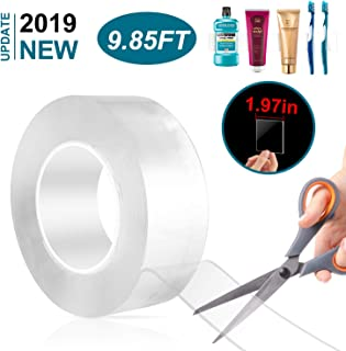 2019 Upgraded New 1.97in Width Multipurpose Double Sided Tape, Nano Tape Washable Removable Double Sided Sticky Strips Seamless Traceless Tape for Paste Items, Kitchen Tools, Fix Carpet(9.85ft)