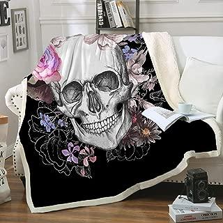 Sleepwish Black Sugar Skull Blanket Soft Fleece Throw Blanket Skull Rose Design Gothic Skeleton Sherpa Blanket for Bed Couch Sofa Chair Office (50