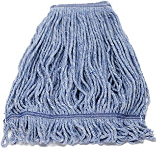 KLEEN HANDLER Heavy Duty Commercial Mop Head Replacement | Wet Industrial Blue Cotton Looped End String Cleaning Mop Head Refill