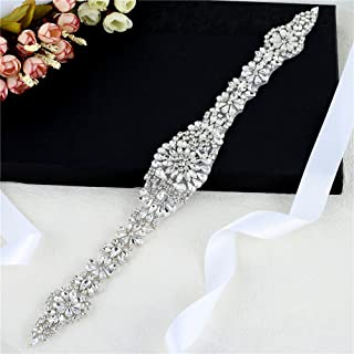 FANGZHIDI Bridal Appliques Belts, Silver Rhinestone Wedding Sash Decorate with Diamante Sparkly Crystals- Iron on Wedding Applique for Wedding Party Evening Dress Bridesmaid Gown DIY