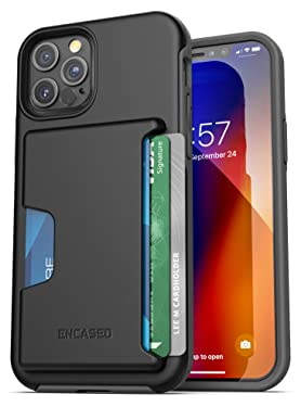 Encased Phantom Wallet Case Compatible with iPhone 12 Pro Max Protective Cover with Card Holder Slot (3 Credit Cards Capacity) Black