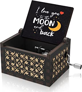 U R My Sunshine Wooden Colorful Black Music Box I Love You to The Moon and Back Vintage Hand Crank Musical Box Gifts for W...