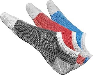 Calcetines Cortos Hombre de Verano Muy Transpirables (PACK x3: Rojo Gris Azul) ALGODÓN MERCERIZADO, Sneaker