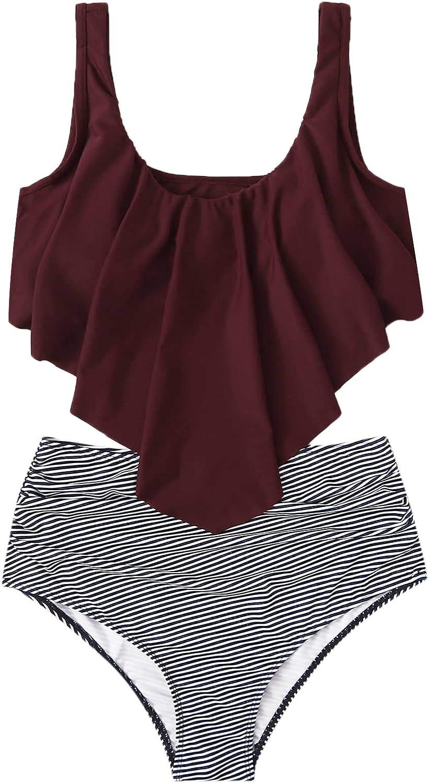 SweatyRocks Women's Boho Ruffle Falbala Bathing Suits Striped Shorts Bikini Set