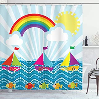 Ambesonne Cartoon Decor Shower Curtain by, Landscape with Sailing Boat in Sea Fish Rainbow and Fluffy Clouds Kids Nursery Art, Fabric Bathroom Decor Set with Hooks, 75 Inches Long, Multi