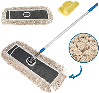 """Houseables Commercial Dust Mop, Professional Cotton Mops, 34""""-59"""", 1 Handle, 1 Head, 2 Refills, Grey, Silver, Blue, Industrial, Janitorial Supplies, Cleaner, for Hardwood Floor Cleaning, Wood, Garage"""