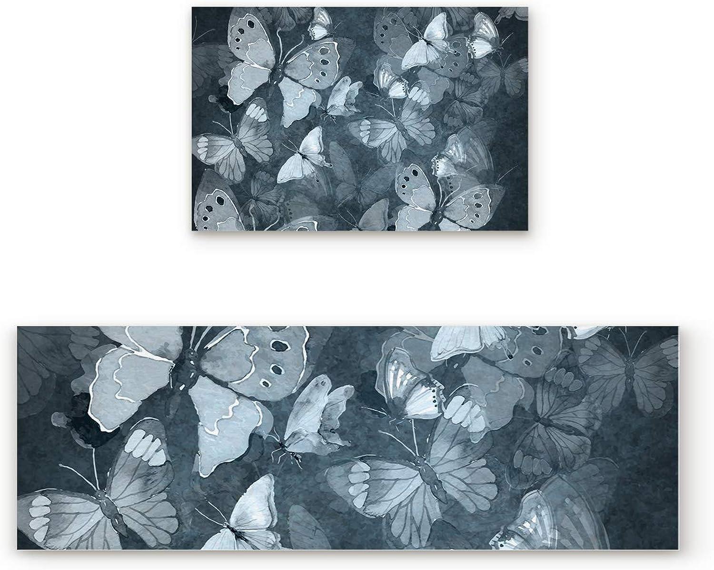 Libaoge Non-Skid Slip Rubber Backing Kitchen Mat Runner Area Rug Doormat Set, Hand Drawn Butterfly Carpet Indoor Floor Mats Door 2 Packs, 19.7 x31.5 +19.7 x47.2