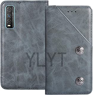 YLYT Business Shockproof - Blue Flip Leather Retro Cover With Stand Wallet Case For Vivo Y70t 6.53 inch With Card Slots