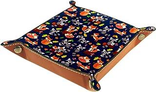 Plateau de rangement en cuir aquarelle renard raton laveur pour table de chevet, bureau, boîte de rangement pour bijoux, c...