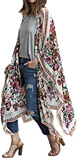 Women's Floral Print Chiffon Summer Swimwear Beach Cover Up Kimono Cardigan