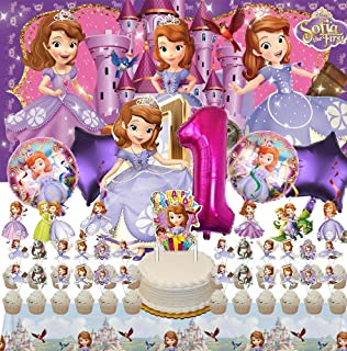 Sofia 1st Party Supplies | 1 | Balloons | First | For Girl | Banner | Backdrop | Birthday | Decorations | Set | Decor