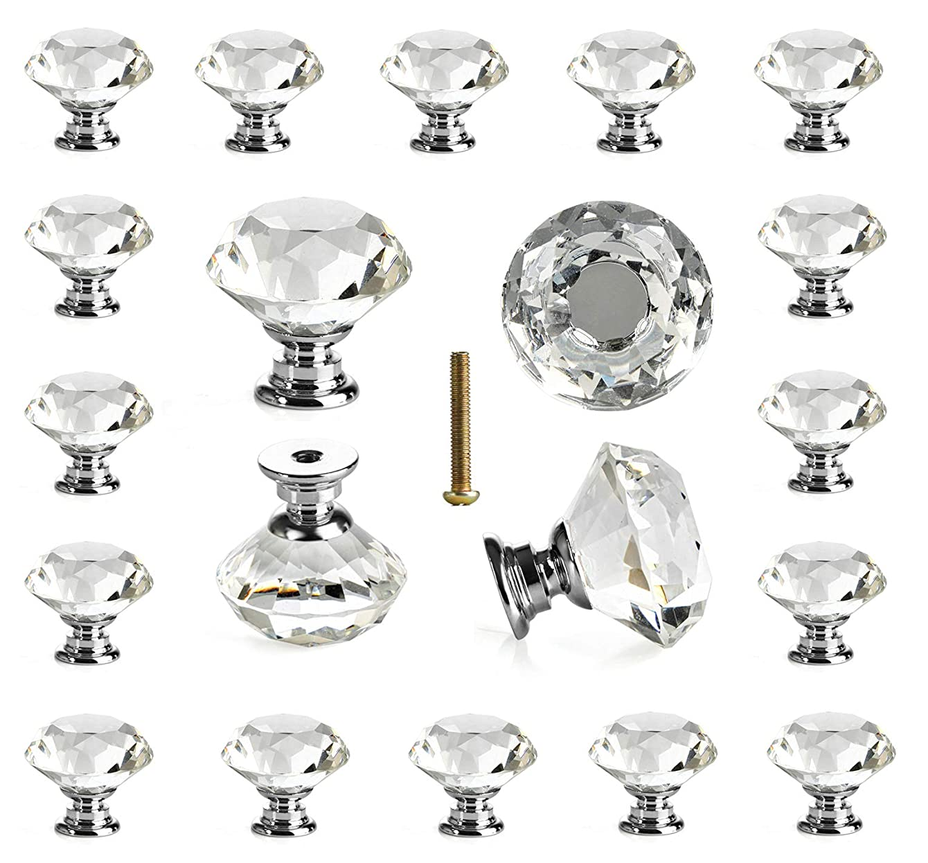 25 pcs Glass Cabinet Knobs Crystal Drawer Pulls Clear 30 mm Diamond for Kitchen, Bathroom Cabinet, Dresser and Cupboard by DeElf daccupnkyprsf21