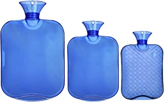 Attmu 3 Pack Classic Rubber Transparent Hot Water Bottles for 3 Different Sizes, 2 Liter, 1 Liter and 0.5 Liter - Blue