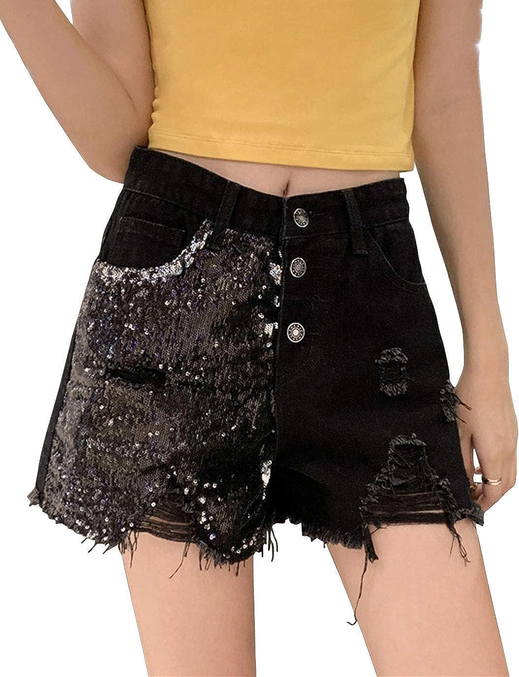 ebossy Women's Glitter Sequin High Waist Raw Hem Ripped Cutoff Jean Shorts