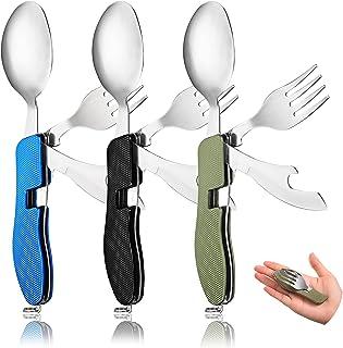 3 قطع 4 في 1 أواني تخييم قابلة للطي في الهواء الطلق أدوات مائدة للسفر وسكين شوكة وسكين وفتاحة زجاجات ، مجموعة أدوات المائد...
