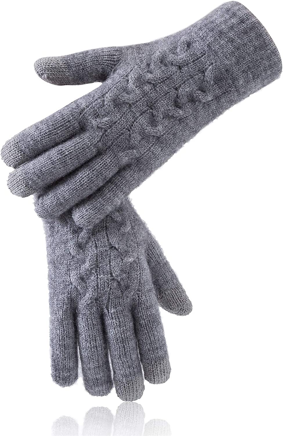 Reach Star Women's Winter 3-Finger Touch Screen Dual-Layer Gloves with Cashmere Lining Gloves