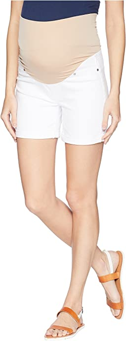 Maternity Cuff Shorts in Comfort Stretch Denim in Bright White