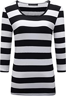 Women's 3/4 Sleeve Striped T-Shirt Basic Scoop Neck Shirts