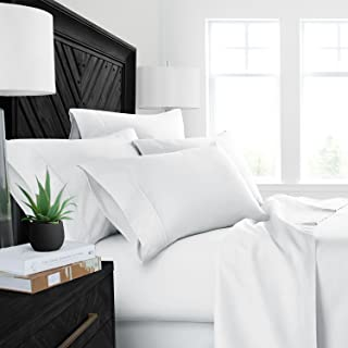 Sleep Restoration Luxury Bed Sheets with All-Natural Pure Aloe Vera Treatment - Eco-Friendly, Hypoallergenic 4-Piece Sheet Set Infused with Soothing/Moisturizing Aloe Vera - Queen - White