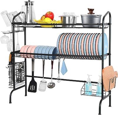 WeluvFit - Escurridor de platos para colocar sobre el fregadero, 3 niveles de acero inoxidable, escurridor de platos, organización de cocina y estante de almacenamiento con pintura a prueba de óxido para el hogar, la cocina, el mostrador de espacio