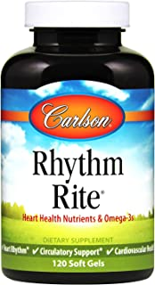 Carlson - Rhythm Rite, Heart Health Nutrient & Omega-3s, Heart Rhythm, Circulatory Support & Cardiovascular Health, 120 So...
