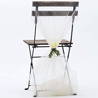 ZZLT 50PCS Organza Chair Sashes for Rustic Wedding Decorations,Sunflower Wedding Decorations Party Decoration, Banquet Decoration,Beach Wedding Decorations (Creamy-White)