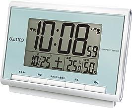 セイコー クロック 目覚まし時計 電波 デジタル カレンダー 温度 湿度 表示 薄青 パール SQ698L SEIKO