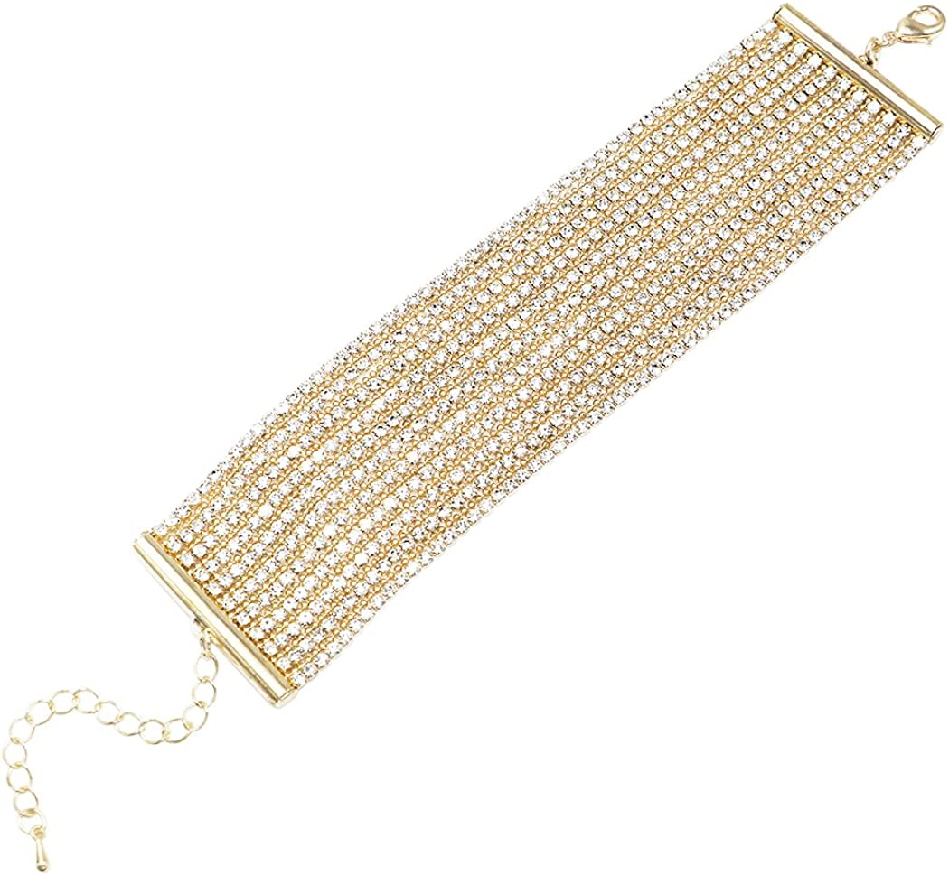 Rosemarie Collections Women's Exquisite 11 Strand Rhinestone Crystal Statement Formal Wear Bracelet, 6