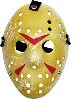 2 Pieces Jason Mask Scary Halloween Costume Voorhees Hockey Mask for Friday The 13th Horror Cosplay Party Yellow