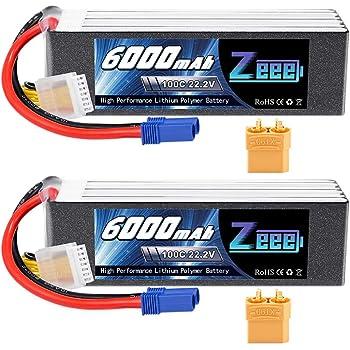 2pcs 22.2V 6500mAh 6S LiPo Battery 60C XT90 for RC Car Truck Boat Airplane
