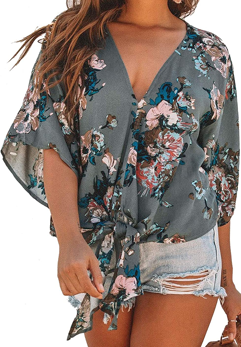 Shawhuwa Blouses Tie Front Womens Button Down Deep V Neck Tops 3/4 Sleeve Casual Blouse Tops Summer Chiffon Shirts