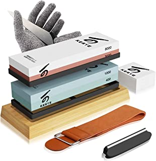 Knife Sharpening Stone Kit, KERYE Professional Japanese Whetstone Sharpener Stone Set, Premium 4 Side Grit 400/1000 3000/8...