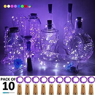 iLLTAKE Wine Bottle Lights with Cork 10 Pack Fairy Lights Battery Operated LED Cork Bottle Lights Christmas String Lights for Party Wedding Christmas Halloween Bar Jar Lamp Decor, Purple