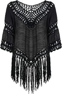 Women's V-Neck Floral Crochet Long Tassel Poncho Tunic Top