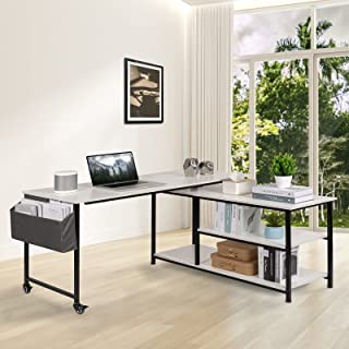 Vagowin Rotating L Shaped Desk, White Computer Desk with...