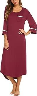 Nightgowns for Women Sleepshirt 3/4/Long Sleeves Nightshirts Full Length Sleep Dress S-XXL